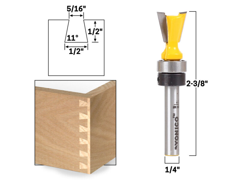 "11° X 1/2"" Dovetail Router Bit - 1/4"" Shank - Yonico 14811q"