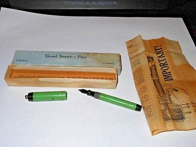 Vintage Sears + Roebuck Good service fountain pen 14K nib and orig. box + papers