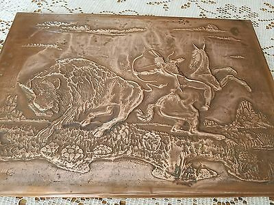 Vintage Indian On Horse Hunting Buffalo Embossed Copper Art 10x14