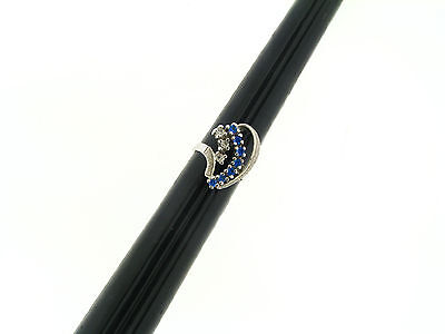 Vintage NOS Sterling Silver Deco Clear Blue Sapphire CZ Multi Curve Ring 6+