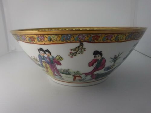 """Vintage Chinese Ceramic Bowl Large Maidens Floral Butteryflies Shiny Gold 11"""""""