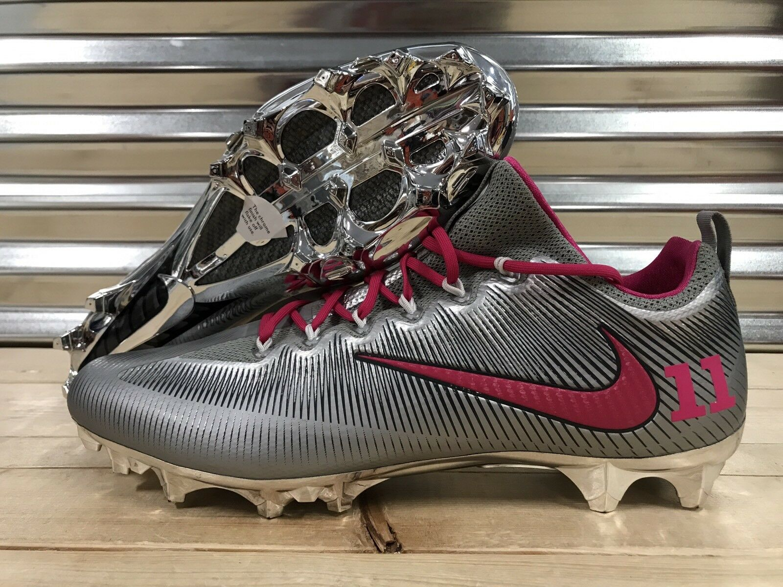 7a004f5b9b17 Nike Vapor Untouchable Pro iD Football Cleats Metallic Silver Chrome Pink  SZ 16