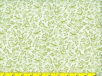 Light Green Birds & Leafy Branches Quilting & Sewing Fabric by the Yard  (Light Green Fabric)