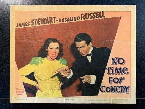 NO TIME FOR COMEDY 1940 ORIGINAL LOBBY CARD - JAMES STEWART, ROSALIND RUSSELL