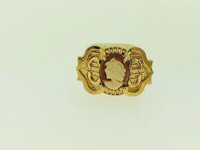 Designer 14K Yellow Gold 585 Left Facing Cameo Slide Bracelet Charm 14k Designer Charm Bracelet