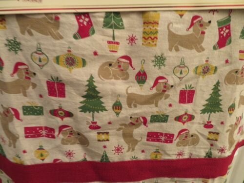 Envogue Christmas Dachshund Apron - 3 Piece Set w/ 2 Kitchen Towels Holiday NEW