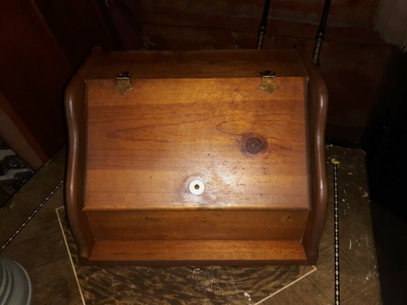 Vintage Wood Bread Box Rustic Pine