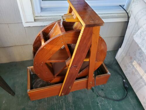 Waterwheel Water Fountain Wood with Copper Lined Basin Electric Pump