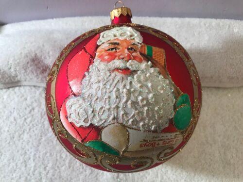 Christmas ornament glass large Red Ball Santa Checking List Poland MAX1398