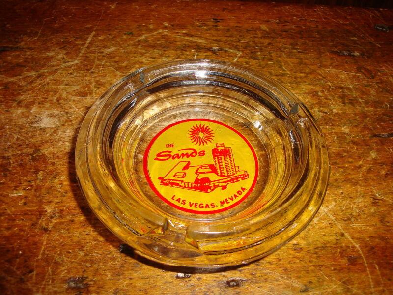 Vintage Glass Casino Ashtray The Sands  Las Vegas Nevada Early Logo
