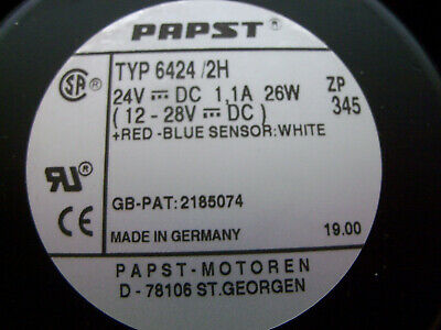 Papst Typ 64242h Fan 24 Vdc 12-28 Vdc Axial 6-34 X 6 X 2 New