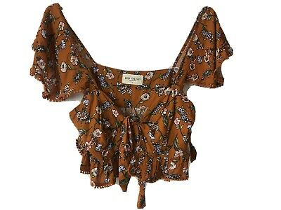 Kiss The Sky Burnt Umber Top Orange Floral Cropped Tie Front Top Size M BNWT
