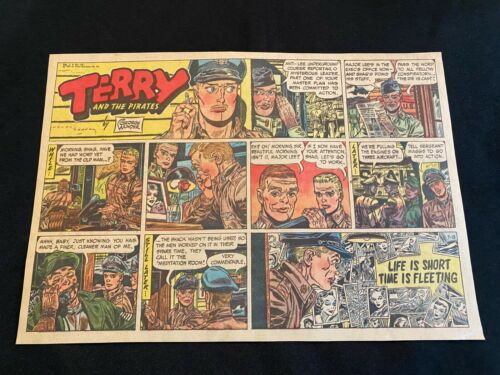 #49 TERRY AND THE PIRATES by George Wunder Lot of 4 Sunday Half Page Strips 1958