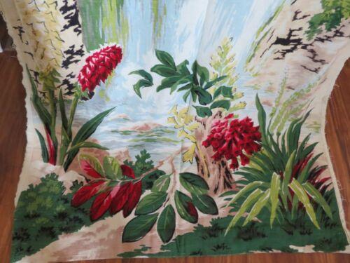 Pair Vintage BARKCLOTH Drapes Hawaiian Waterfall w/Exotic Flowers STUNNING!