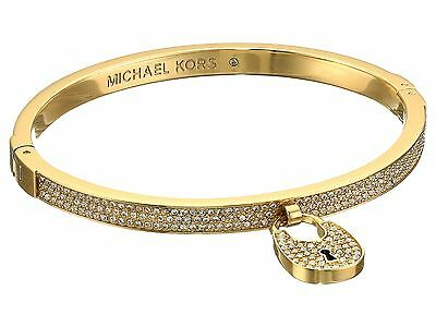 NEW AUTHENTIC MICHAEL KORS HINGE GOLD HERITAGE PAVE MK BRACELET MKJ5971710 BOX