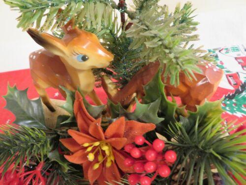 Vintage 1960 Christmas Deer Plastic Poinsettia Decoration Log Atomic Mid Century