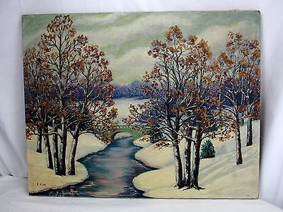 E. Sipp Signed Original Oil on Canvas Winter Scenic Landscape Painting