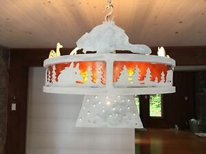 Iron light painted white with chalk paint