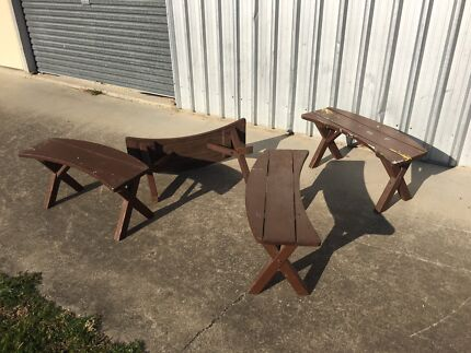 4 Vintage Patio Garden Timber Bench Seats Shabby Beach Inspired