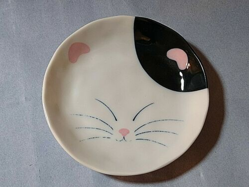 Cat Face pink & black cat dish by Aika