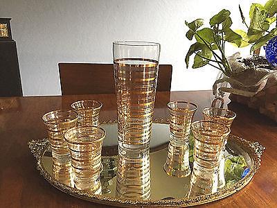 Vintage 22Kt Gold Glass Martini Cocktail Shaker Set    6 Glasses  Perfect