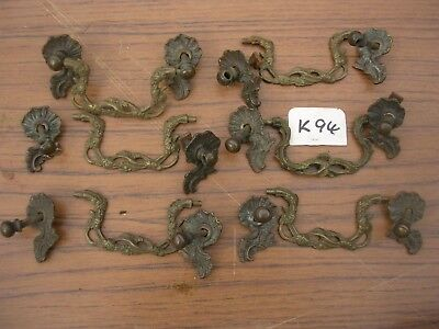 SET OF 6 ANTIQUE BRASS DRAWER HANDLES  (K94)