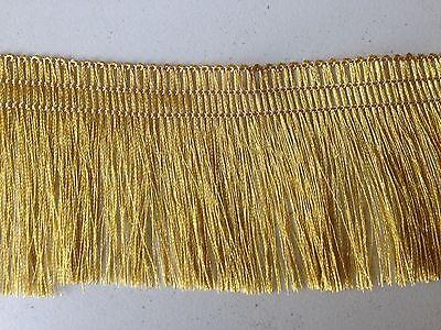 (Gold Metallic Yarn braid tassel Lace Ribbon Trim Fringe tape 2
