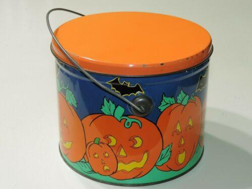 Rare Vintage HALLOWEEN TIN with BATS PUMPKINS Metal Handle candy can