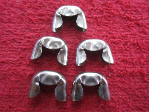 5 VINTAGE ANCHOR BRAND 3/4 LEATHER or CLOTH BELT END TIPS, NICKEL PLATED NOS USA