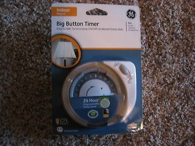 NEW GE INDOOR BIG BUTTON PLUG IN TIMER  #15076 Ge Big Button