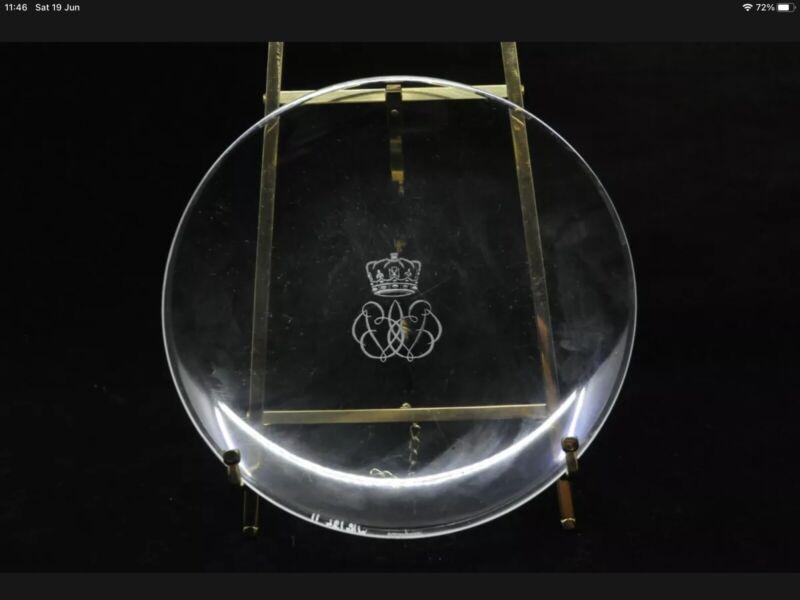 Duke And Duchess Of Windsor King Edward VIII Lalique Glass Plate Signed Rare