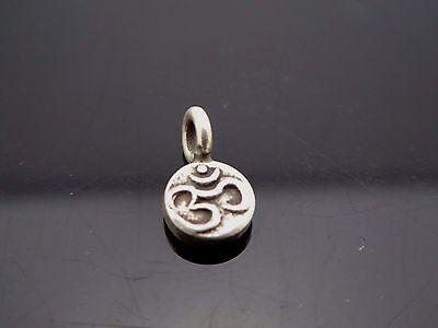 Om Amulet Vintage Style Sterling Silver 925 Tiny Sanskrit Charm Pendant Cord