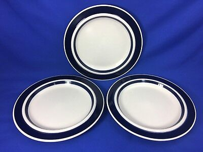 Arabia ANEMONE Blue Band SALAD PLATES Made in Finland SET OF (Anemone Salad)