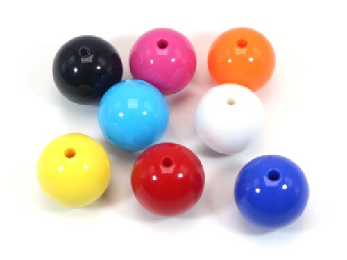 """20 Mixed Bubblegum Candy Color Acrylic Round Beads 18mm(0.7"""") Smooth Ball"""