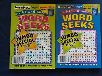 Lot of 2 Penny Press All-Star word seeks jumbo special Puzzle Books