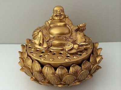 Buddha Laughing Incense Holder Happy Buddha Figurine Painted Gold For Luck & Joy