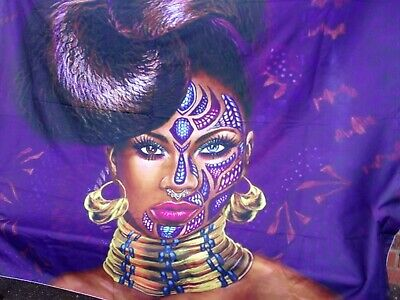 AFRICAN WOMAN ABSTRACT FACE TAPESTRY WALL HANGING/THROW