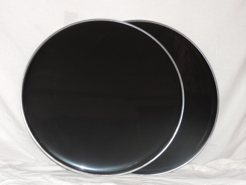 """NEW Pair 22""""  Black Bass Drum Heads Two Heads Included Cheap Price"""