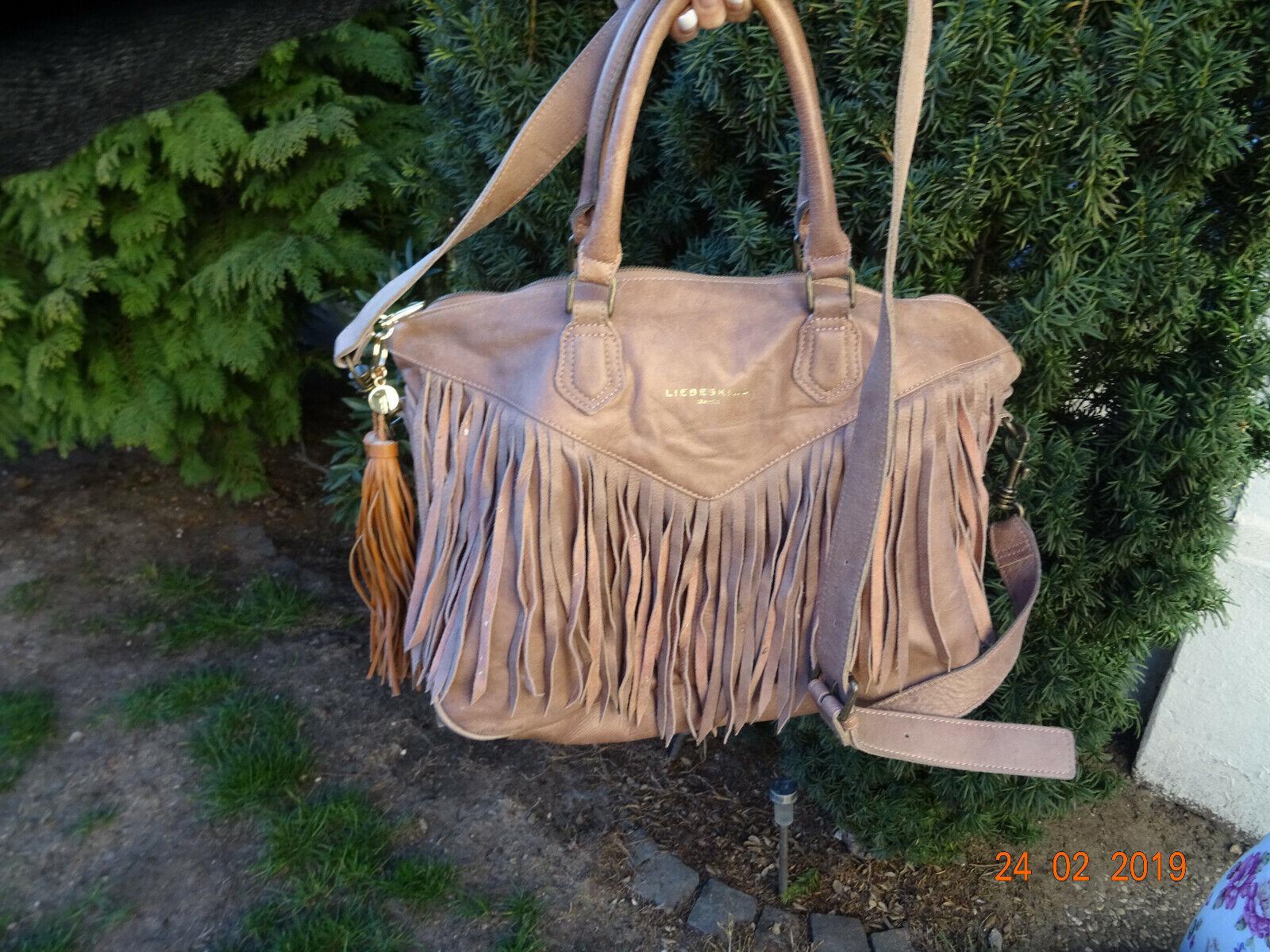 16f7284f760e9 Liebeskind Paula Fringe Leder Handtasche Umhängetasche Fransen metallic rosa