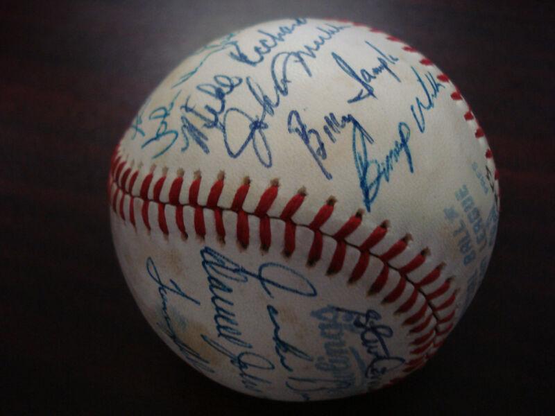 1981 Texas Rangers Team Signed Baseball Fergie Jenkins Al Oliver Zimmer Hough