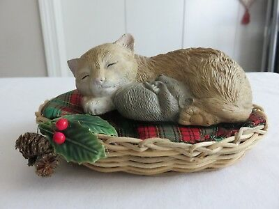 Vintage Sleeping Cat and Mouse Polystone Figurine with Christmas Bed