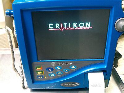 Ge Critikon Dinamap Pro 1000 Patient Monitor Ecg Ekg Spo2 Nibp Recorder Miami