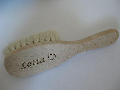 Babyhaarbürste, Baby Haarbürste mit Namen Gravur! Ziegenhaar, viele Schriftarten