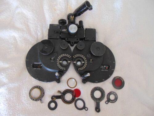 Vintage Antique B&L Bausch Lomb Refractor Phoropter Optician Eye Exam & Lenses