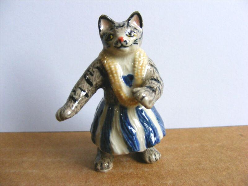 Klima Hula Cat Blue Skirt Miniature Animal Figurine Dancing Kitty Charity