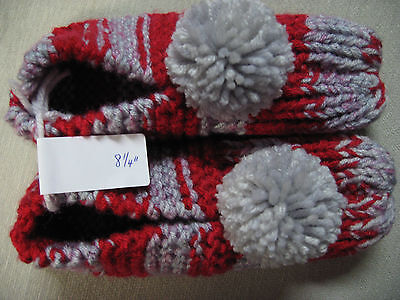 """New Handmade Knit House Slippers OH STATE Red & Gray Womans Sm Mans X Sm 8 1/4"""""""