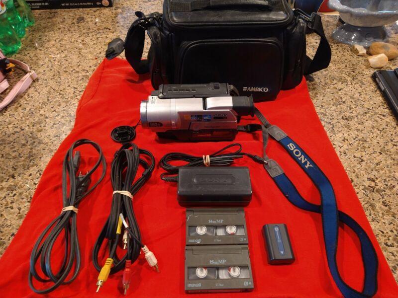Sony CCD-TRV608 Handycam camcorder 8mm Hi8 Video Transfer bundle TESTED