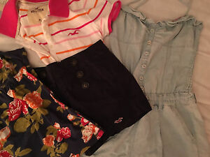 Hollister & Abercrombie and Fitch (Romper, high waisted shorts)