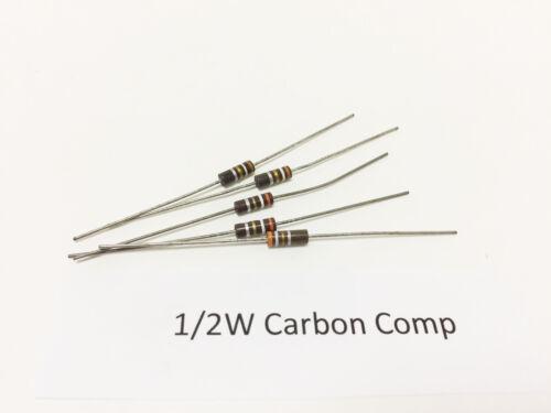 (5) 1/2W 10% Carbon Comp Resistors, Ohmite, Allen Bradley Vintage, NOS OE series