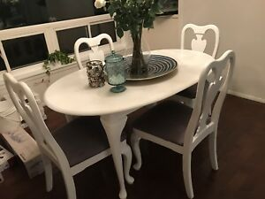 Cherry solid wood white and grey dining table set